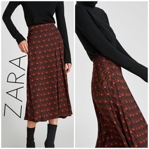 NWT Zara fall palette geometric midi pleat skirt L
